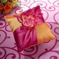 Hot Pink And Orange Wedding Ring Cushion